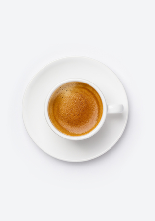 Cup of coffee on white background, top view Standard-Bild - 124680778