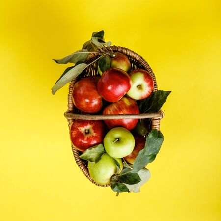 Organic apples in basket on yellow background