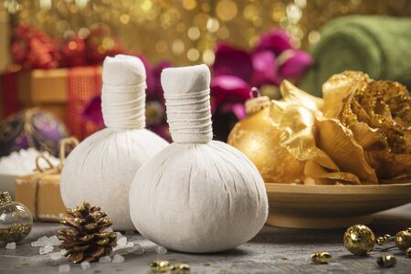 Spa composition with Christmas decoration. Holiday SPA treatment Stock Photo