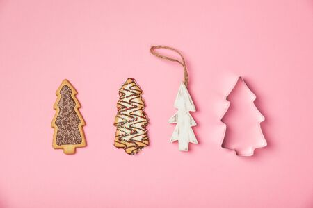 Christmas gingerbread cookies in the shape of a Christmas tree Stockfoto