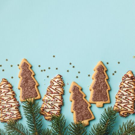 Christmas gingerbread cookies in the shape of a Christmas tree and Christmas tree branches
