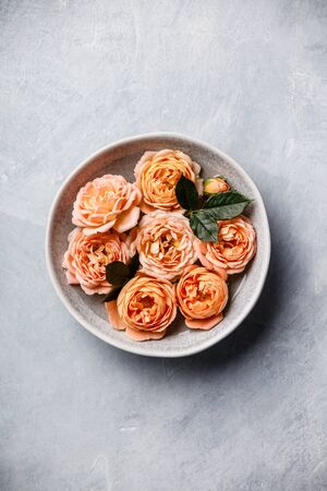 Orange roses floating in water on concrete background, SPA and relaxation concept