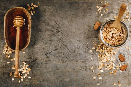 Healthy homemade granola and honey. Healthy eating concept Stok Fotoğraf