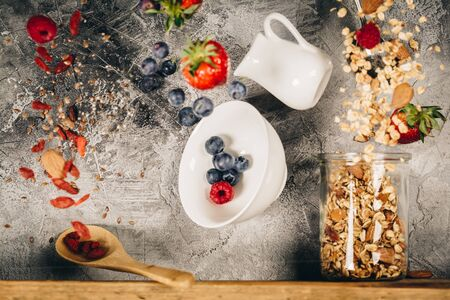 Flying breakfast against grey wall. Healthy eating concept Stok Fotoğraf