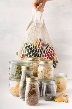 Zero waste shopping, Recycling, Sustainable lifestyle concept