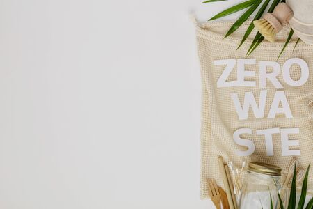 Zero waste concept, eco friendly accessories, flat lay Stock fotó