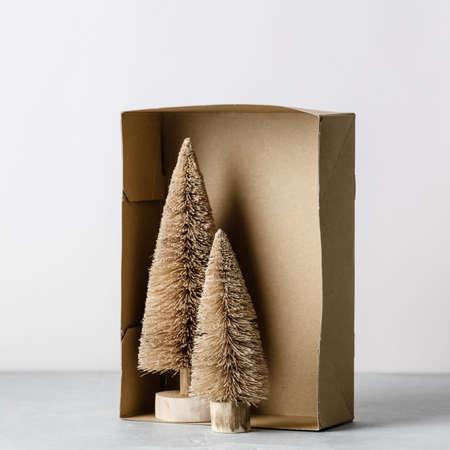 Coconut fiber Christmas trees in a box, zero waste concept
