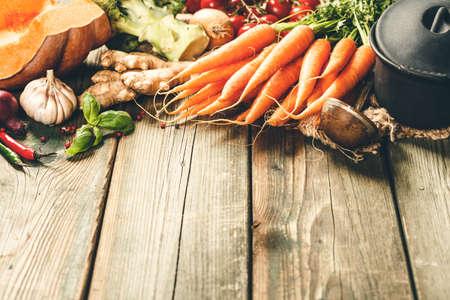 Healthy food cooking background. Vegetable ingredients, copy space