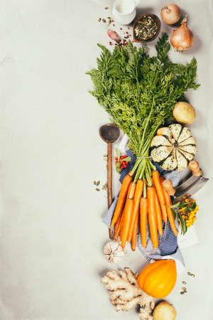 Healthy food cooking background, Vegetable ingredients.copy space