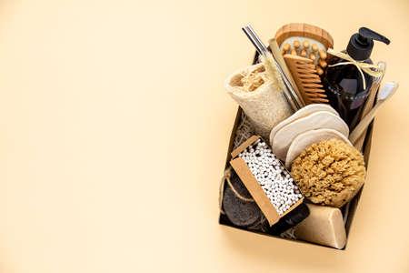 Zero waste beauty body care items on color paper background Reklamní fotografie - 163611613