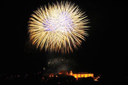 Fireworks over Spilberk castle in Brno