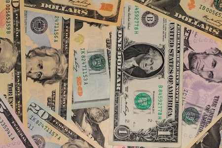 Background made of new american dollar banknotes