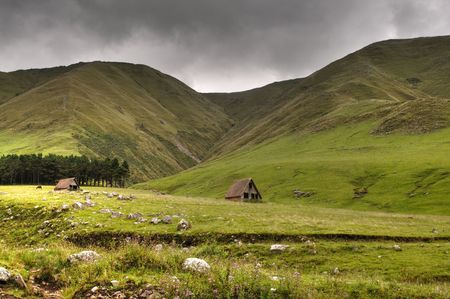 Grassland in the mountains, icelandic or argentinian style Stock Photo