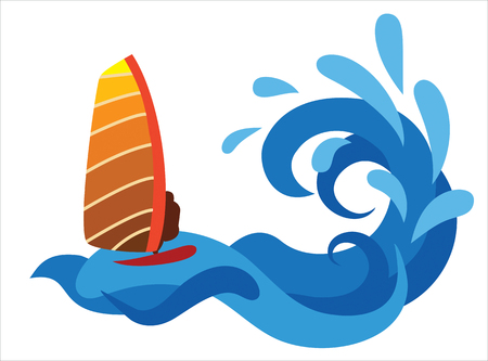 Abstract illustration of surfer on the sea.