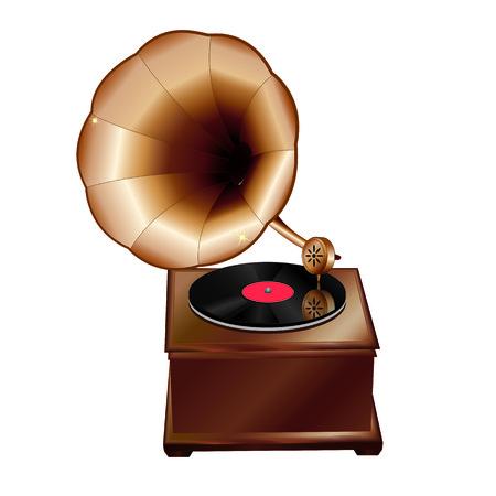 Realistic vintage gramophone