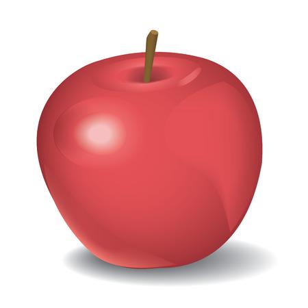 Vector illustration of red apple on white