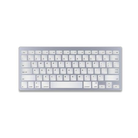 Realistic aluminum computer keyboard isolated on white background.