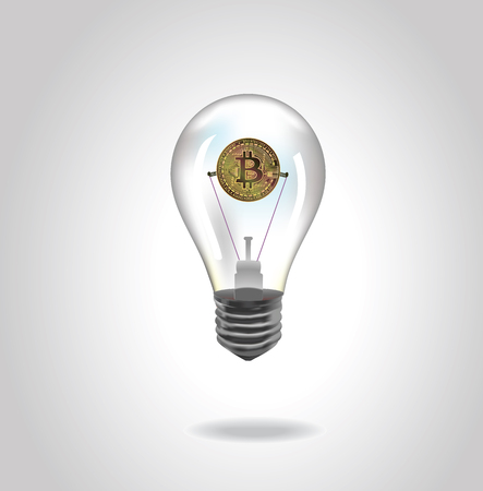 Golden bitcoin digital currency on a white background.