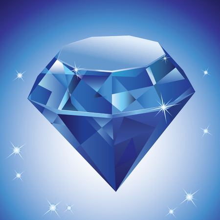 Vector Illustration of a diamond on blue background with stars