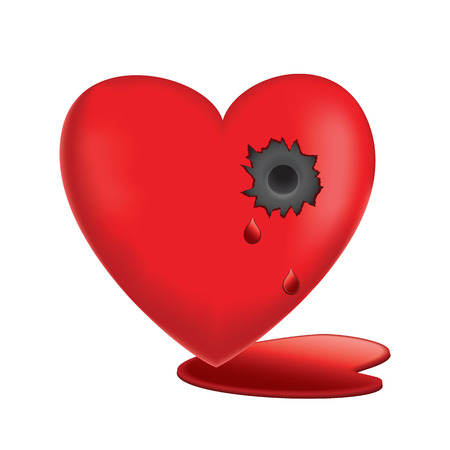 A Vector illustration of Glassy Heart Bleeding with bullet hole.