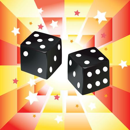 A Vector illustration of black dices on abstract background. Ilustração