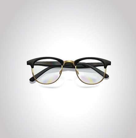 Realistic vector black classic glasses.