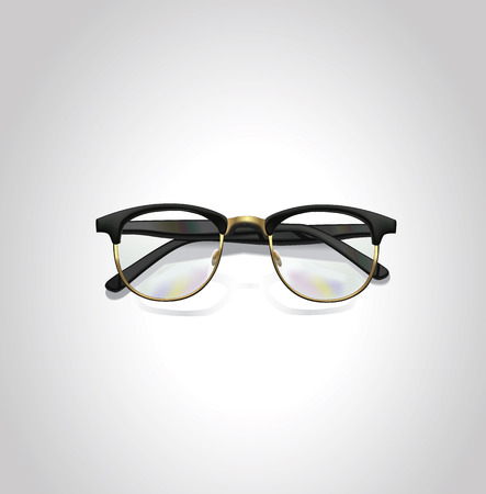 Realistic vector black classic glasses.