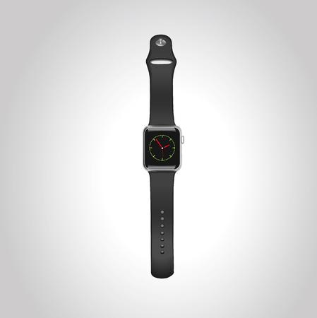 Vector Apple assista wport caso de alumínio preto de 42mm com faixa de esporte preto com tela inicial no visor. Vista frontal.Eps10. Foto de archivo - 87529810