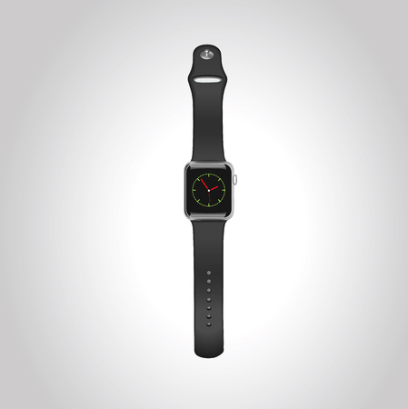 Vector Apple watch wport 42mm zwarte aluminium koffer met zwarte sportband met homescreen op het display. Vooraanzicht.Eps10. Stock Illustratie