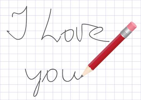 Declaration of love written by a pencil in a school writing-book Ilustração