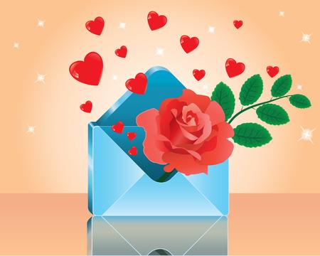 Love-letter. Red rose in love romantic envelope