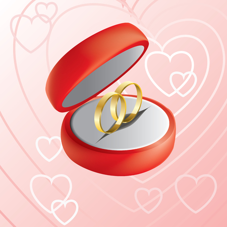 Vector Illustration of Red Jewelry Box with  Wedding Rings Ilustração