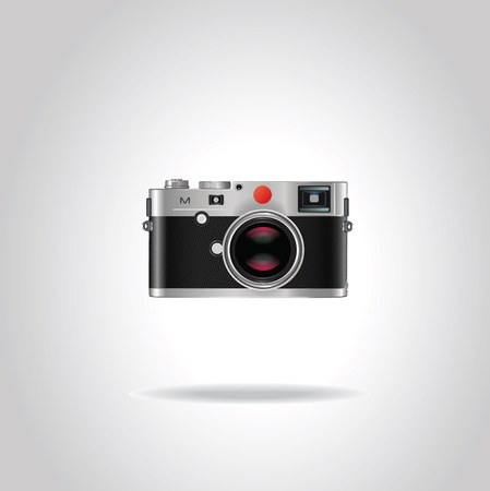 Realistic vintage style retro camera with shiny blue lens. Vector illustration isolated on gray