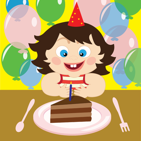 Vector  illustration of a child on the birthday