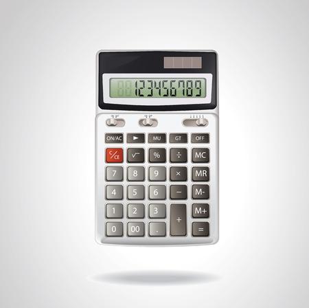 Realistic vector aluminum calculator  isolated on white background. Ilustração