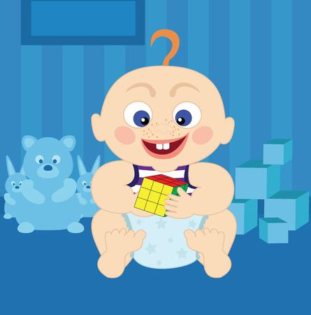 Cartoon baby with cube Illustration