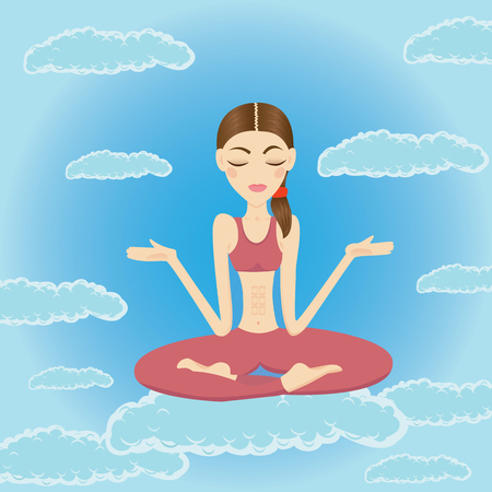Beautiful woman meditating in the sky