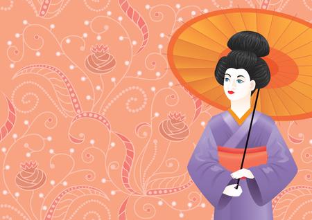 Japanese Geisha girl wearing kimono on pink pattern-background