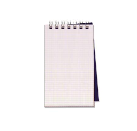 Realistic vector illustration of blank notebook with  square  paper from a block isolated on a white background with shadows Ilustração