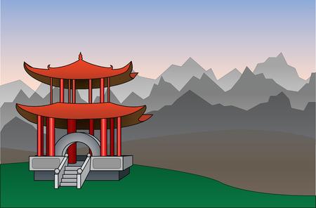 Chinese pagoda between mountains background vector illustration Ilustração