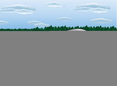 The modern vector train in the nature landscape Ilustração