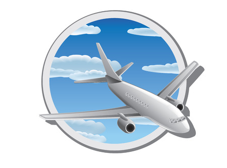 Vector illustration of plane in the sky