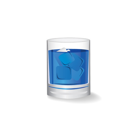 Pure water in glass with ice cube on white background