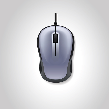 Realistic computer mouse on white background. Vector illustration.