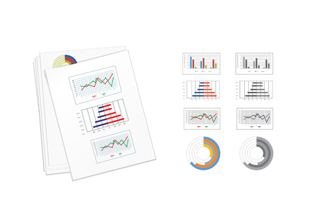 Vector illustration of business paper with color graphics. Top view.