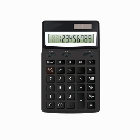 Realistic black calculator.