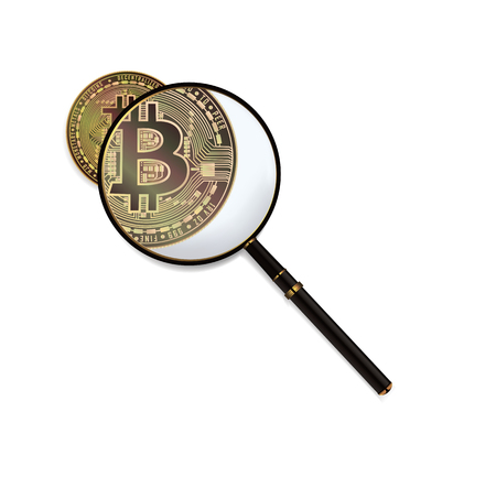 Bitcoin And Magnifying Glass Vector. Cryptocurrency Business Concept. Isolated Illustration Illustration
