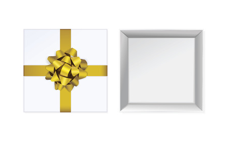 Open white gift box and with yellow bow and ribbon vector design elements set isolated on white background. View from top