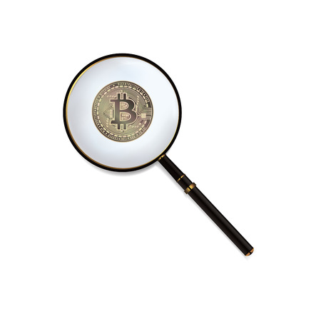 Bitcoin And Magnifying Glass Vector. Cryptocurrency Business Concept. Isolated Illustration Ilustração