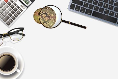 Bitcoin  background with realistic objects: calculator, keyboard, cup of coffee, glasses, pen, bitcoin and magnifier